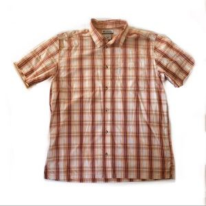 Columbia Orange / Red Plaid Short Sleeve Button Up